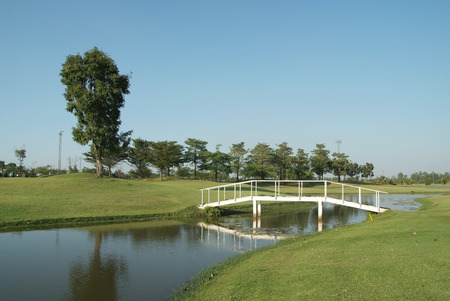 A beautiful golf course in a nice day