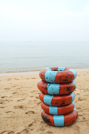 Float rental placed on the beach in Thaland