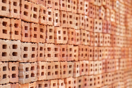 Brick blocks stacked to be used for construction
