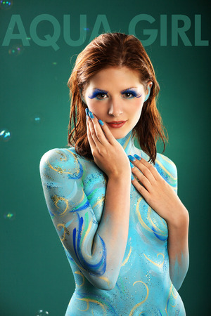 bodypainting: fashion model in Aqua bodypainting Stock Photo