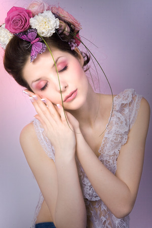 french manicure sexy woman: fashion model with pink floral design