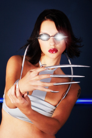 fashion model in space silver and long claws photo