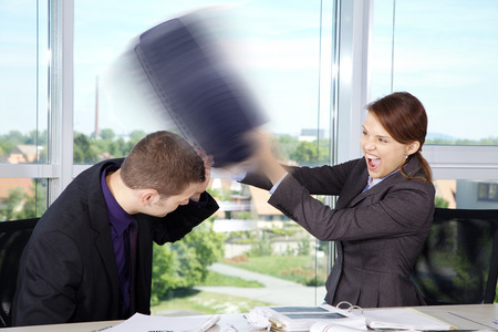 Business Situation in Office with woman and man
