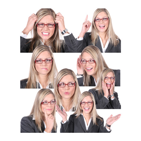 busines woman collage in different situations photo