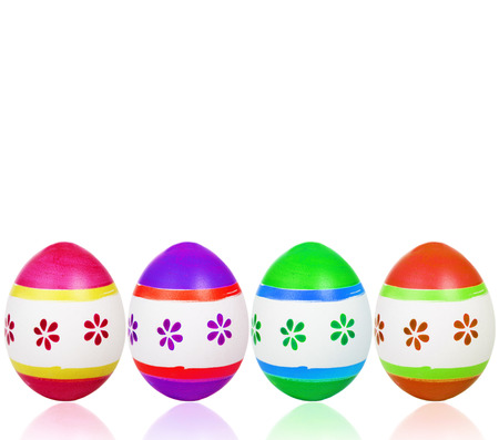 many colorful easter eggs on white underground photo