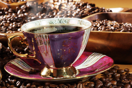 diat product: coffee beans served in basket and coffee