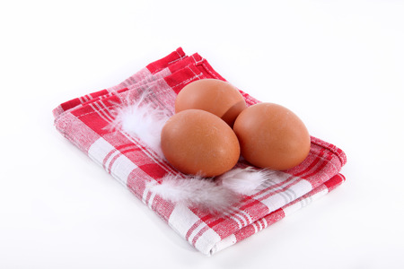 diat product: eggs close to white table Stock Photo