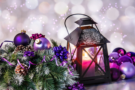 christmas balls with beautiful decoration and candle photo