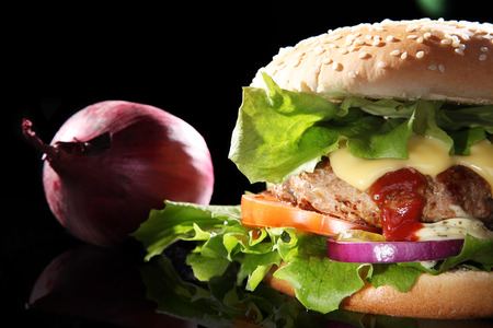 diat product: hamburger close decorated with onion
