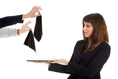 business woman with tablet gets rags photo