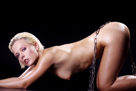 erotic nude woman with chain