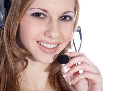 businesswoman with headset and smile photo