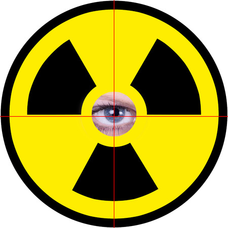 isotope: atom nuclear sign with eye Stock Photo
