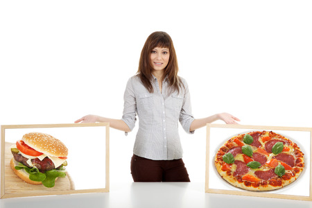 Model presents a pizza und hamburger in a picture photo