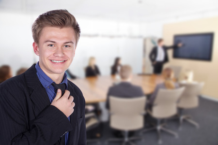 Friendly Business People imagine with boss man photo