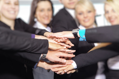 Hands Stack with business people 스톡 콘텐츠