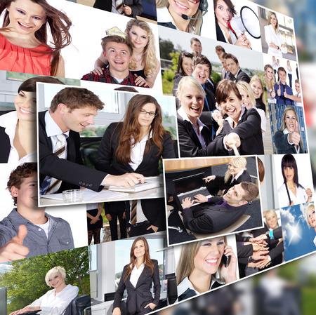 Business-Collage in der Seitenansicht