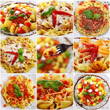 collage with different pasta dishes on menus photo
