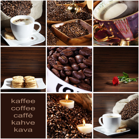 coffee beans Collage in different mugs