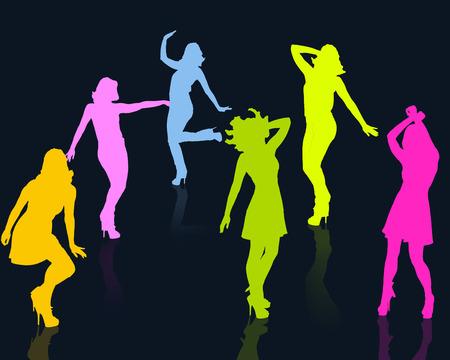 weibliche Figuren tanzen als Grafik Lizenzfreie Bilder