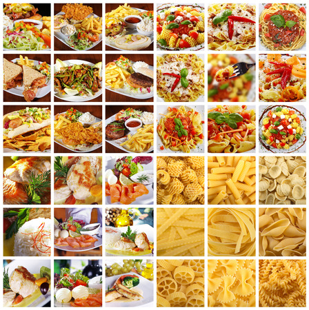 many different dishes and noodle recordings photo