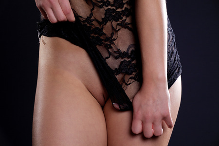 intimate area with black lingerie Stock Photo