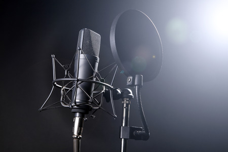 microphone on stand with spider web photo