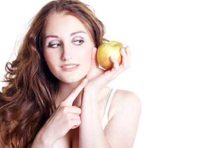 young model presents and loves her apple photo