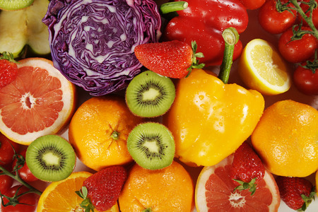 fruits with tomatoes pepper and cabbage close up Archivio Fotografico