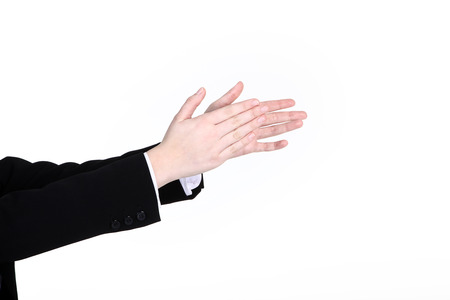 Hand sign applaud on white wall photo
