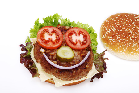 diat product: hamburger decorated as a face