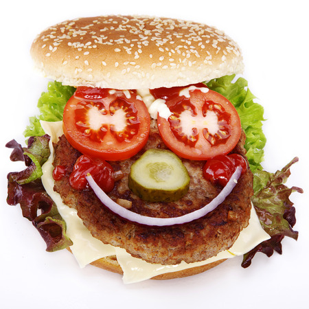 sesame seeds: hamburger decorated as a face