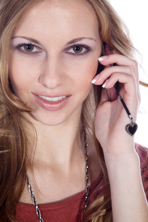 businesswoman on the phone and smile photo