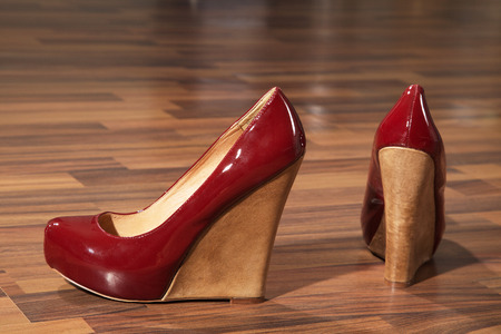 beautiful red lacquer high shoes photo