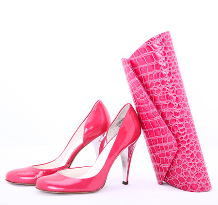 modern Italian shoes and clutch photo