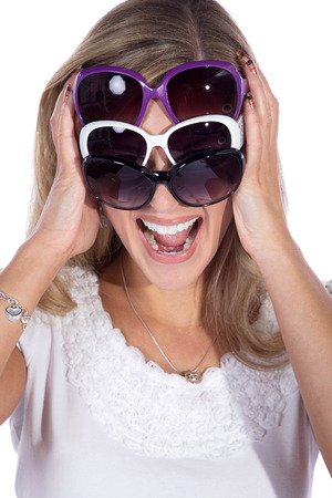 blond pretty woman with sunglasses photo