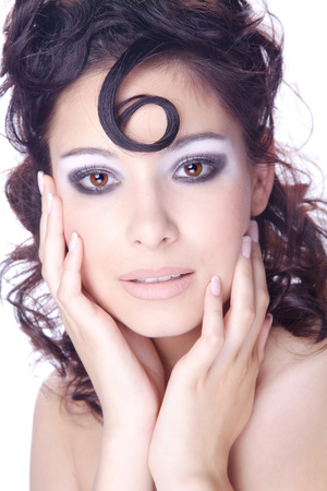 model with extreme makeup and hairstyling photo