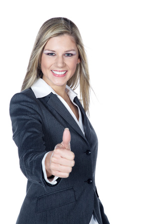 business woman with thumbs up photo