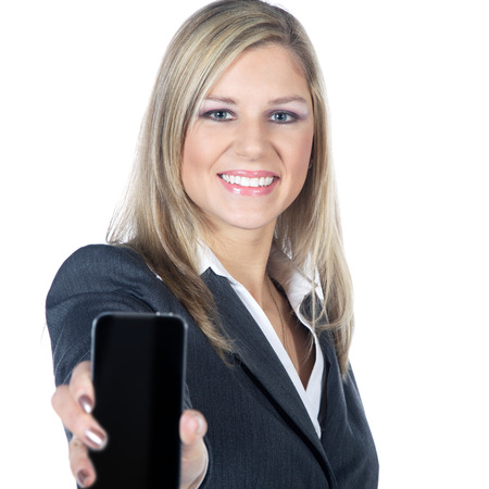 busines woman presented with a mobile phone photo