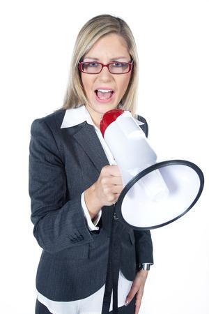 beautifull woman: beautifull woman shout in a megaphone