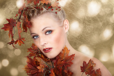 beautiful model in autumn style photo