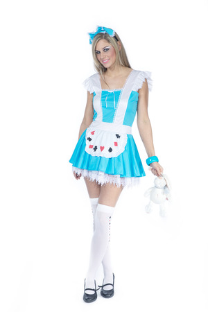 american stories: beautiful woman in alice costume