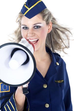 beautiful woman stewardess with megaphone Standard-Bild