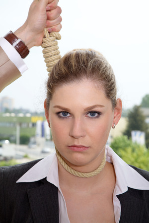 Business woman on the rope photo