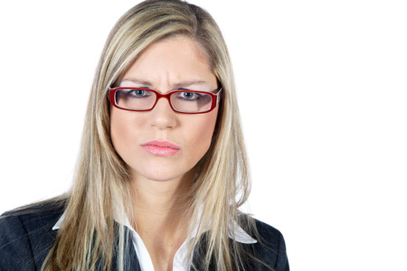 business skeptical: skeptical busines woman with glasses