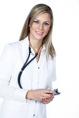 beautiful woman doctor with stethoscope photo