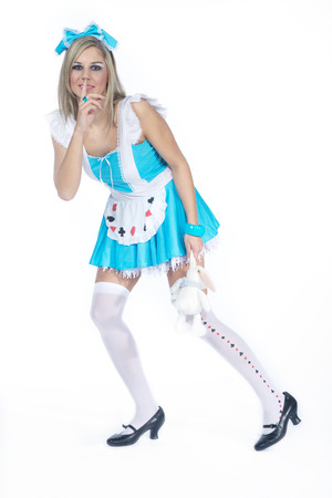 stockings and heels: beautiful woman in alice costume