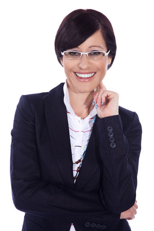 business woman with glasses smile photo