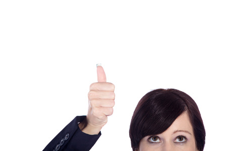 thumps up: business woman with thumps up Stock Photo