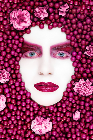 extreme vogue make up in white and pink photo